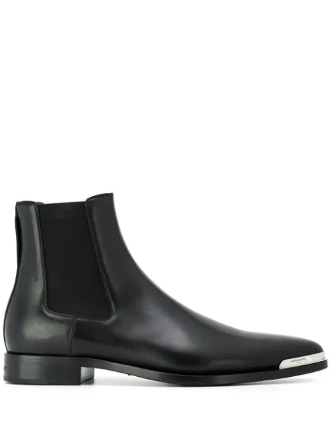Givenchy Dallas Metal-toe Leather Chelsea Boots In Black