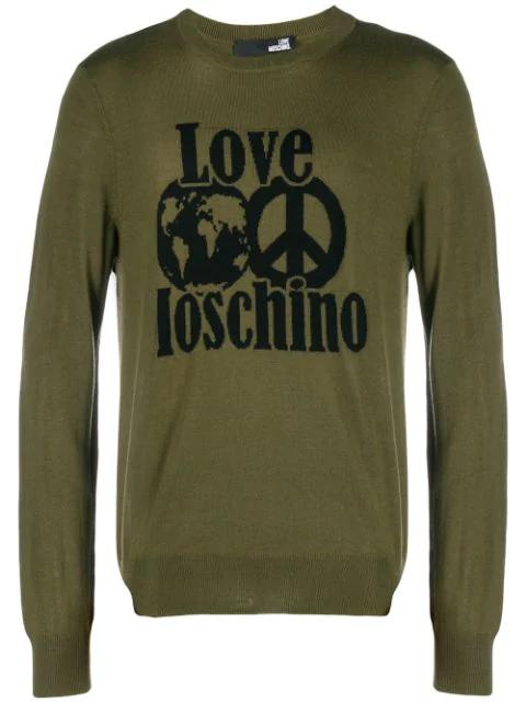 Love Moschino Logo Intarsia Jumper In Green
