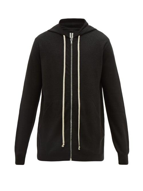 Rick Owens Zip-Through Cashmere Hooded Sweatshirt In 09 Black