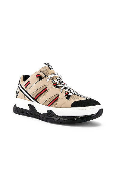 Burberry Black Unisex Monogram Motif Mesh And Leather Sneakers In Beige