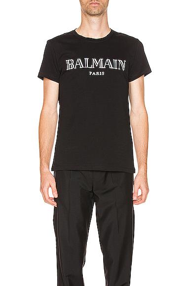 Balmain Slim-Fit Logo-Print Cotton-Jersey T-Shirt In Black