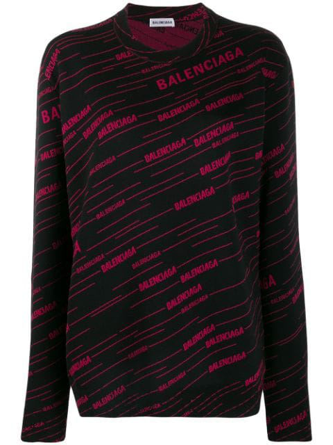 Balenciaga Logo-Jacquard Wool-Blend Fitted Sweater In Black
