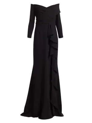 Teri Jon By Rickie Freeman Three-quarter Crepe Ruffle Column Gown In Black