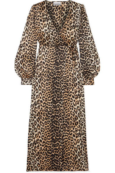 Ganni V-neck Bishop-sleeve Animal-print Stretch-silk Midi Dress In Brown