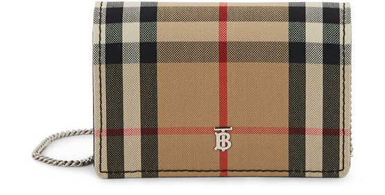 Burberry Vintage Check Card Case With Detachable Strap In Multicolour