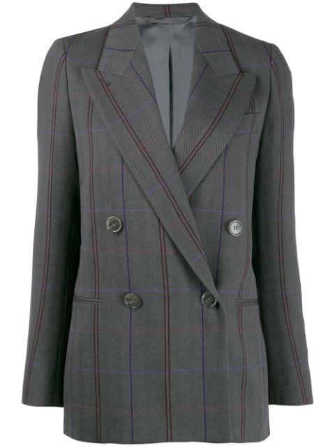 Acne Studios Check Plaid Wool-cotton Herringbone Blazer In Ai3-grey/purple