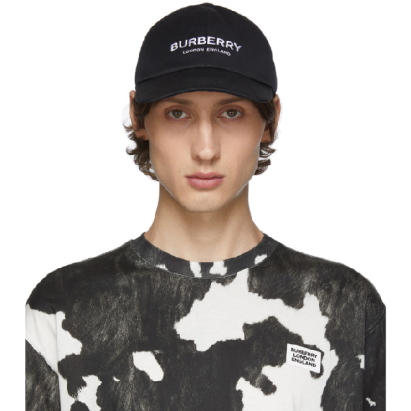 Burberry Logo Embroidery Canvas Baseball Hat In Black