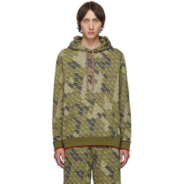 Burberry Casper Tb-Print Cotton-Blend Hooded Sweatshirt In Khaki Green
