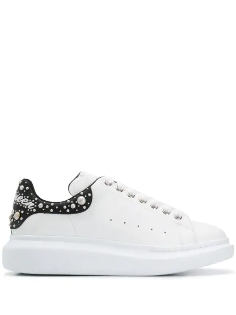 Alexander Mcqueen 'oversized Sneaker' In Leather With Stud Collar In 9028 White Black White