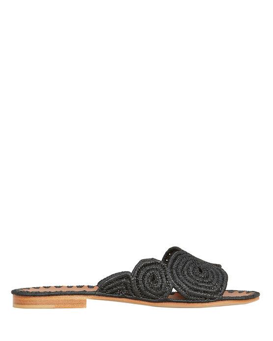 Carrie Forbes Miringi Flat Raffia Sandals In Black