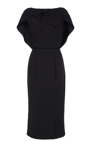 Prada Cape-effect Crepe Midi Dress In Black