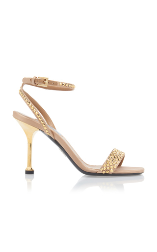 Prada Crystal-embellished Leather Sandals In Gold