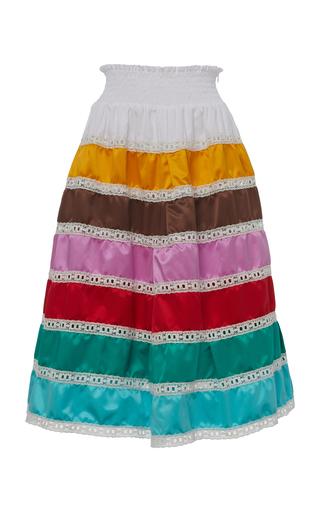 Prada Lace-trimmed Silk Midi Skirt In Multicoloured