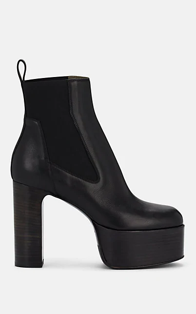 Rick Owens Leather Platform Chelsea Boots In Black