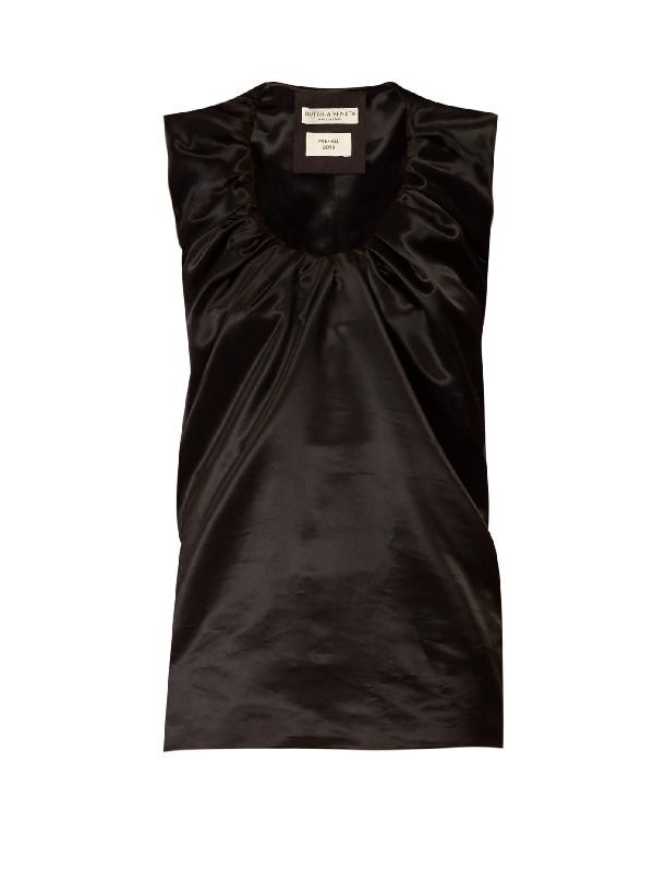 Bottega Veneta Sleeveless Silk Blend Ruched Top In Black