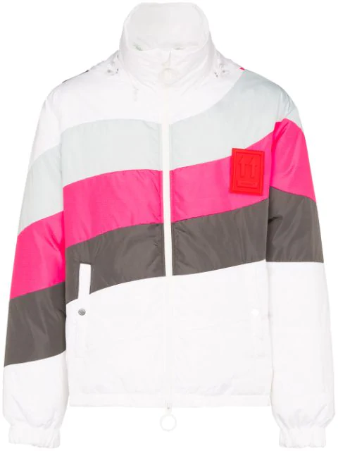 """Off-White White """"Anorak"""" Down Jacket With Pink And Grey Details"""