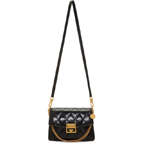 Givenchy Small Gv3 Diamond Quilted Leather Crossbody Bag - Black In 001 Black
