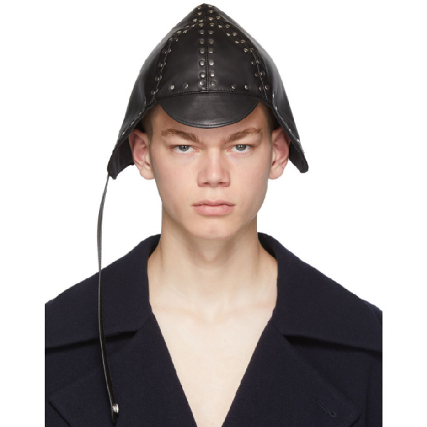 Loewe Studded Leather Driving Hat In 1100Black
