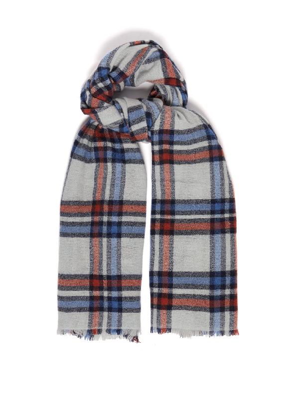 Isabel Marant 粗针织格纹围巾 - 灰色 In Blue