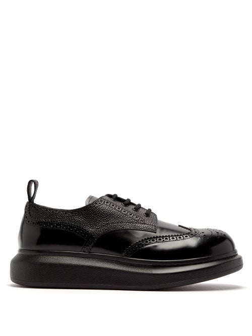 Alexander Mcqueen Raised-Sole Leather Derby Shoes In Black