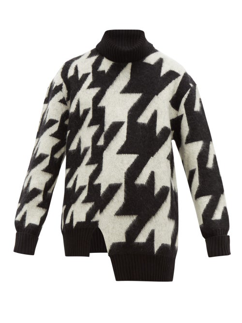 Alexander Mcqueen Asymmetric Houndstooth Mohair-Blend Rollneck Sweater In Black White