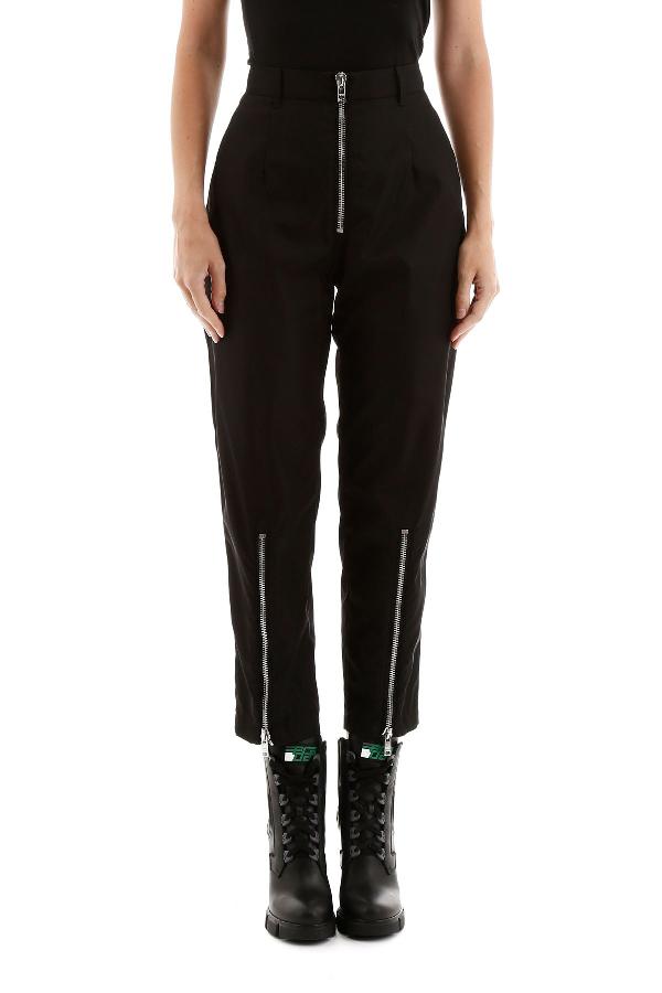 Prada Nylon Trousers In Nero Nikel (Black)