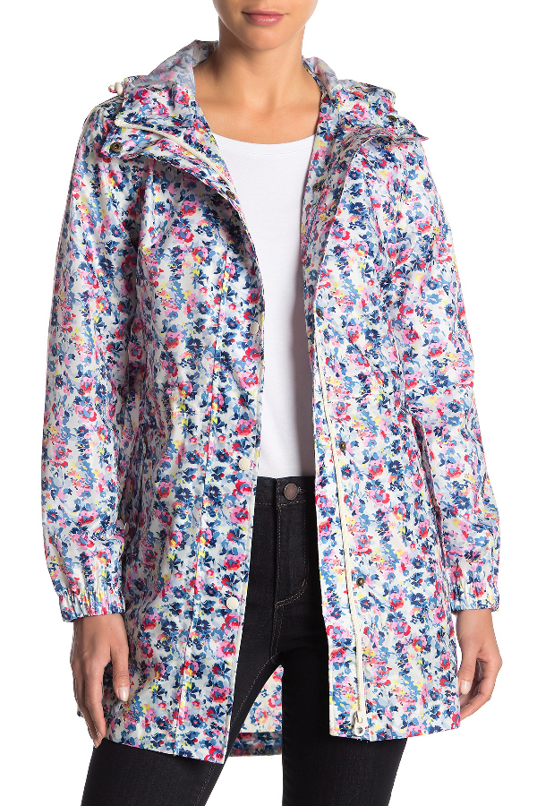 Joules Right As Rain Packable Print Hooded Raincoat In Crmgdty
