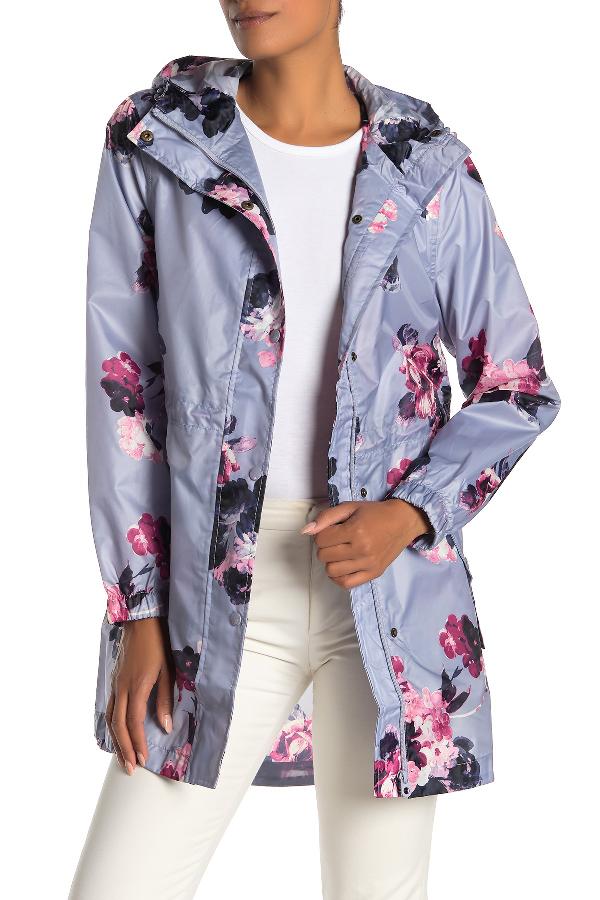 Joules Right As Rain Packable Print Hooded Raincoat In Dskgwfl