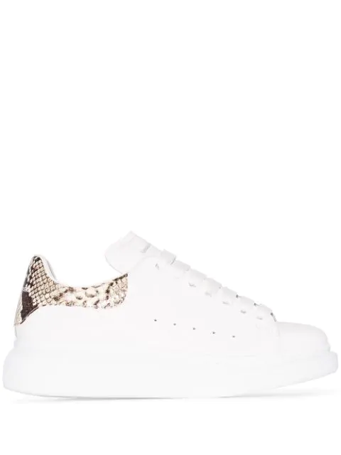 Alexander Mcqueen White And Printed Python Classic Sneakers In 9306 White Natural 193