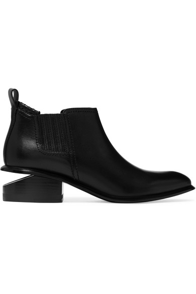Alexander Wang Women's Kori Pointed Toe Leather Ankle Boots In Black