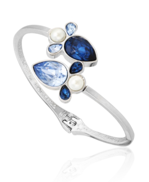 T Tahari Stones And Shells Bypass Cuff Bracelet In Silver