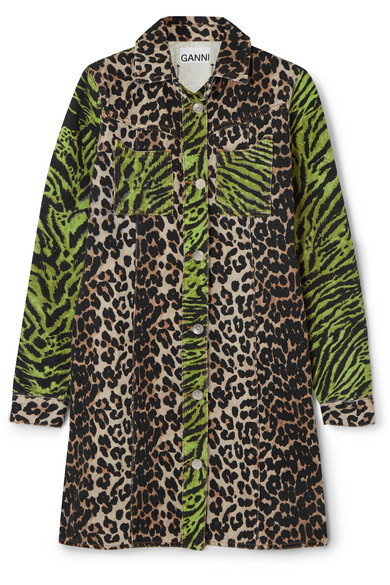 Ganni Animal-Print Colorblock Button-Front Mini Denim Shirtdress In Leopard Print