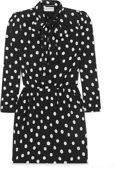 Saint Laurent Pussy-bow Polka-dot Crepe Mini Dress In Black