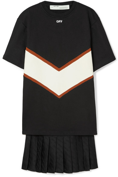 Off-White Panelled Cotton-Jersey And Satin Mini Dress In Black