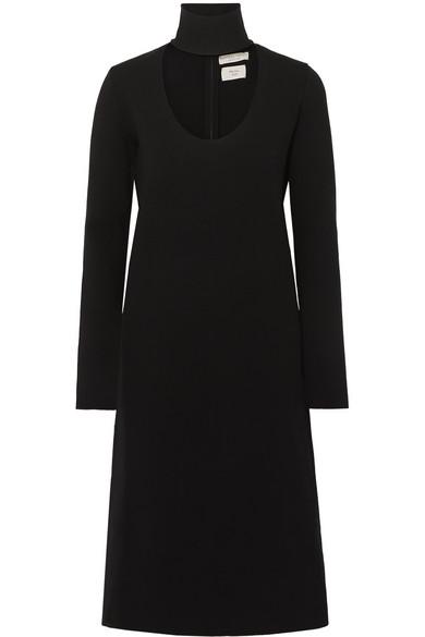 Bottega Veneta Wool-blend Turtleneck Midi Dress In Black
