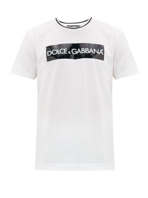 Dolce & Gabbana Tape Crewneck Short Sleeves Mc Giro In White