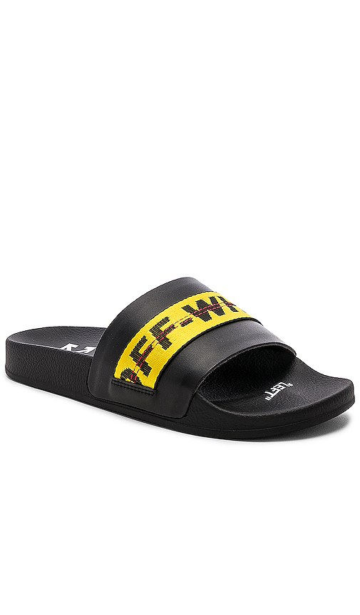 Off-white Men's Industrial Leather Slide Sandals In Black & Yellow