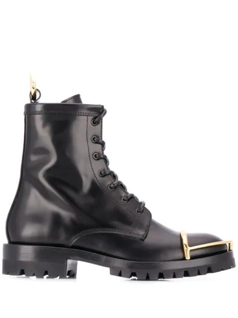 Alexander Wang Lyndon Combat Boots In Black Calfskin In 001 Black