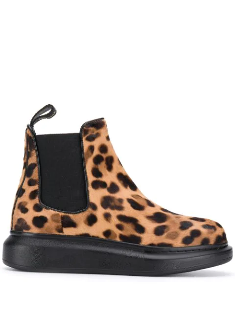 Alexander Mcqueen Chunky Outsole Leopard Print Pony Hair Chelsea Boots In Brown