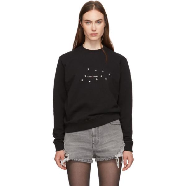 Saint Laurent Metallic Logo-print Cotton-jersey Sweatshirt In 1081 Bk/sil