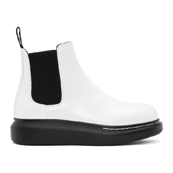 Alexander Mcqueen Raised-sole Leather Chelsea Boots In 9061 Wt/bk