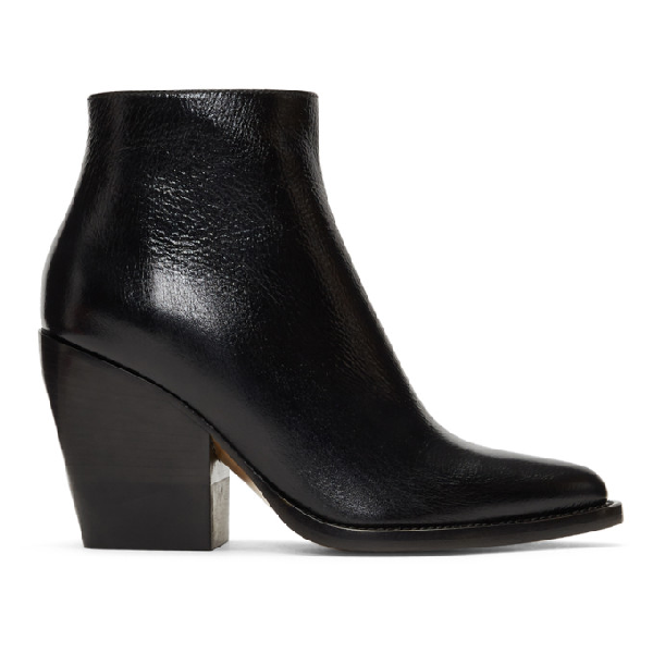 ChloÉ Rylee High Heels Ankle Boots In Black Leather In 001 Black