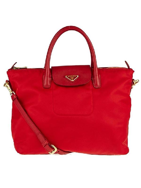 Prada Shopping Tote Tessuto Saffiano Red