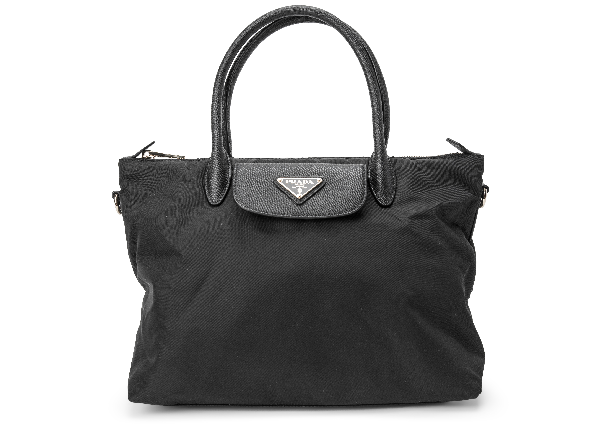 Prada Convertible Flap Tote Tessuto/saffiano Medium Nero Black