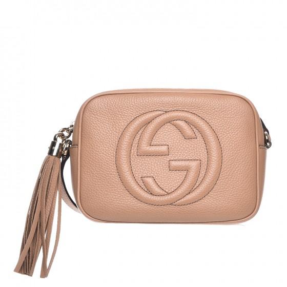 Gucci Soho Disco Leather Small Camelia
