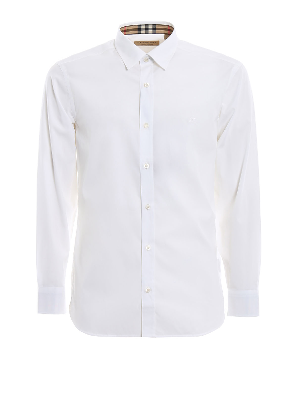 Burberry William Logo-Embroidered Cotton-Blend Poplin Shirt In 白色