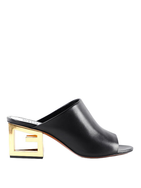 Givenchy Triangle Open-toe Mules In Black In 001 Black