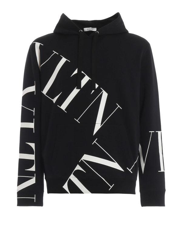 Valentino Black And White Cotton Vltn Sweatshirt With Hood In 0Ni Black