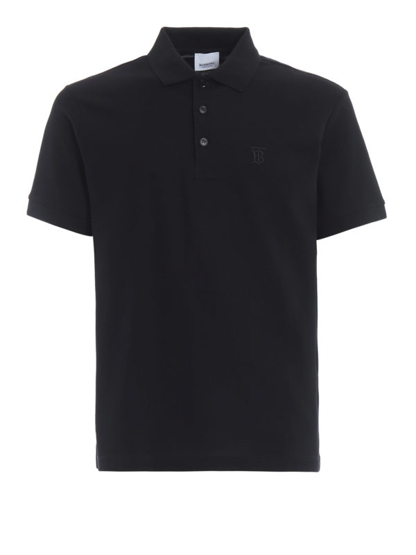 Burberry Slim-fit Logo-embroidered Cotton-piquÉ Polo Shirt In Black