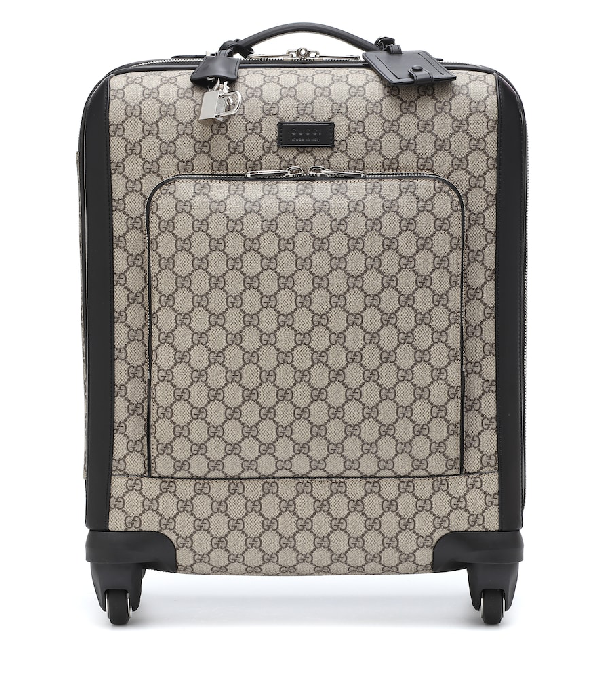 Gucci Gg Supreme Carry-on Suitcase In Brown